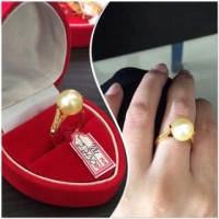 CINCIN MAHKOTA SIMPLE ELEGANT EMAS MUTIARA AIR LAUT ORIGINAL LOMBOK