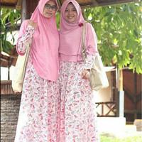 Hijab Syar'i Alila - Gamis Hari Motif Floral Pink