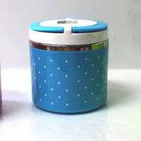 Rantang Susun 1 PUTAR Stainless Steel kedap Lunch Box polkadot