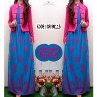 Maxi Dress Silk + Cardigan / Dress Muslim / Gaun Pesta Murah