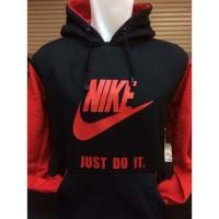 Sweater Hoodie Apparel N-321L Nike Hitam Merah Polos Just Do It