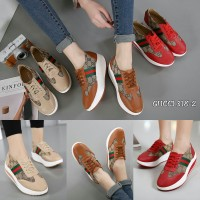 sepatu gucci wedge model elegant red brown beige style impor