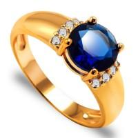 Cincin Wanita Batu Ruby/Safir Lapis Emas 18K