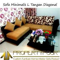 Sofa Kursi Tamu Minimalis model L Universal + Meja Kaca