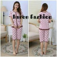 Piyama Wanita Setelan 3/4 Baju Tidur Import Bunny Polkadot Pink