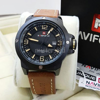 Jam Tangan Pria / Cowok Naviforce Original Strip Leather Light Brown