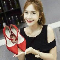 High Heels Merah Glossy 5cm [ ST 01 Samping - Red ]
