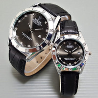 NEW!!! Jam Tangan Rolex Couple Leather Full Black Harga Sepasang TER