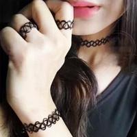 tatto choker 1 set double strands ( kalung , gelang , cincin )
