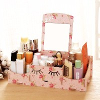 #17 Desktop Storage Rak Kosmetik Bahan Kayu Kotak Kuas Make Up Kutek