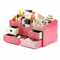 #73 Desktop Storage Rak Kosmetik Bahan Kayu Kotak Kuas Make Up Kutek