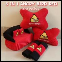 Jual Bantal Mobil 3 in 1 Bordir Angry Bird Red Murah