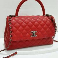 Tas Chanel Coco Medium Handle Red Caviar Rhw Won
