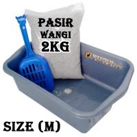 Paket Litter Box [M], Serokan Pasir, dan Pasir Wangi [Repack 2kg]