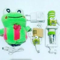 paket keropi kodok powerbank charger tongsis mini termurah karakter