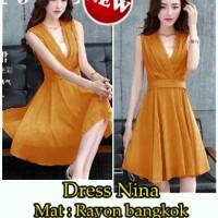 FG - [ Dress Nina SW] pakaian wanita dress korea warna orange stabilo<