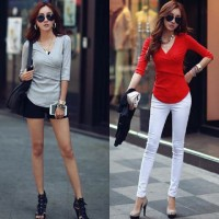 FG - [Blouse KeiKei SW] blouse wanita spandex warna merah dan abu abu<