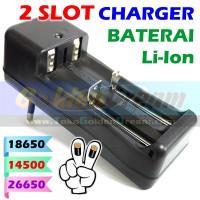 2 Slot Charger Baterai 18650 14500 26650 Lithium Ultrafire Police Vape