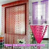 Tirai Benang Motif Love Hati / Dekorasi Jendela Kamar Rumah Vintage