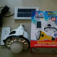 Lampu Emergency 22 LED Rchargeabl Mitsuyama MS-26TP +Panel Surya+Remot