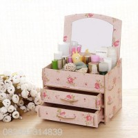 #212 Desktop Storage Rak Kosmetik Bahan Kayu Kotak Kuas Make Up Kutek
