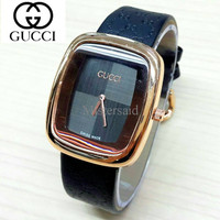 Jam Tangan Wanita / Cewek Gucci Hitam Dial Hitam