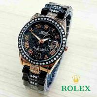 Jam Tangan Wanita / Cewek Rolex Madu Romawi Hitam RG