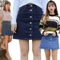 Button Denim A-Line Skirt(#6043)/Rok wanita jeans/Rok kancing