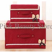 DISKON 2 In 1 Multifunction Box Storage Box 555 Warna Warna Hotpink TE