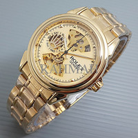 Rolex Skeleton Geneve Rantai Full Gold
