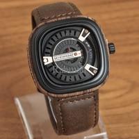 Jam Tangan Pria / Cowok Murah Sevenfriday Wood Leather Dark Brown