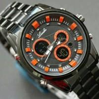Jam Tangan Pria Cowok Lasebo Chrono Jtr 623 Black Orange