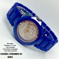 Jam Tangan Chanel Bunga Ceramik / Keramik Biru Gold