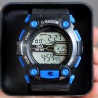 Jam Tangan Pria / Cowok Q&Q C-Shock Rubber Black Blue Water Jam Tangan