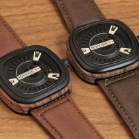 Jam Tangan Pria / Cowok Murah Sevenfriday Wood Leath Jam Tangan Analog