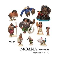 FG183 Princess MOANA Adventure Pajangan Figure Set Isi 10