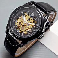 Exclusive Special Rolex Skeleton Diamond Leather Full Black MURAH MERI