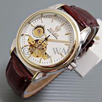 Promo Special Rolex Skeleton Carerra Leather Brown Plat Kombinasi Whit