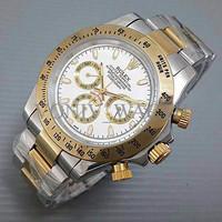 Terbatas Promo Jam Tangan Pria / Cowo Rolex Daytona Rantai Kombi White