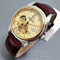 Special Rolex Skeleton Carerra Leather Brown Plat Kombinasi Gold PALIN