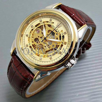 Promo Promo Jam Tangan Pria Rolex Skeleton Diamond Leather Brown Kombi