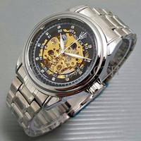Exclusive Jam Tangan Pria / Cowok Rolex Skeleton Diamond Rantai Silver