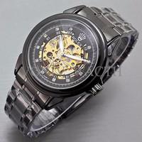 Promo Terbatas Rolex Skeleton Diamond Rantai Full Black PALING MURAH L
