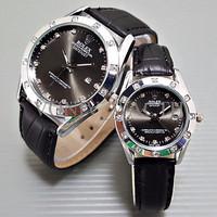 Special Jam Tangan Rolex Couple Leather Full Black Harga Sepasang TERL