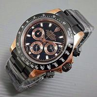 Special Promo Jam Tangan Pria / Cowo Rolex Daytona Rantai Black Gold T