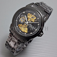 Special Rolex Skeleton Geneve Rantai Full Black TERMURAH