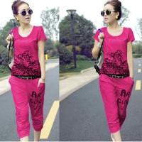 FG - [St Tiger F CL] pakaian wanita setelan atasan+celana warna fanta<
