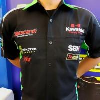 Harga baju otomotif kawasaki baju komunitas moto gp kemeja bordir | antitipu.com