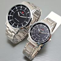 Jam Tangan Couple / Pasangan Swiss Army Couple Rantai Silver Black