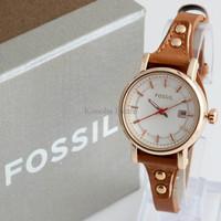 Jam Tangan Wanita / Cewek Fossil Fs030 Brown Rosegold + Box Exclusive